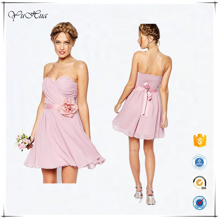 Summer New Arrival Women Wedding Chiffon Mini Bandeau Dress With Detachable Corsage Belt