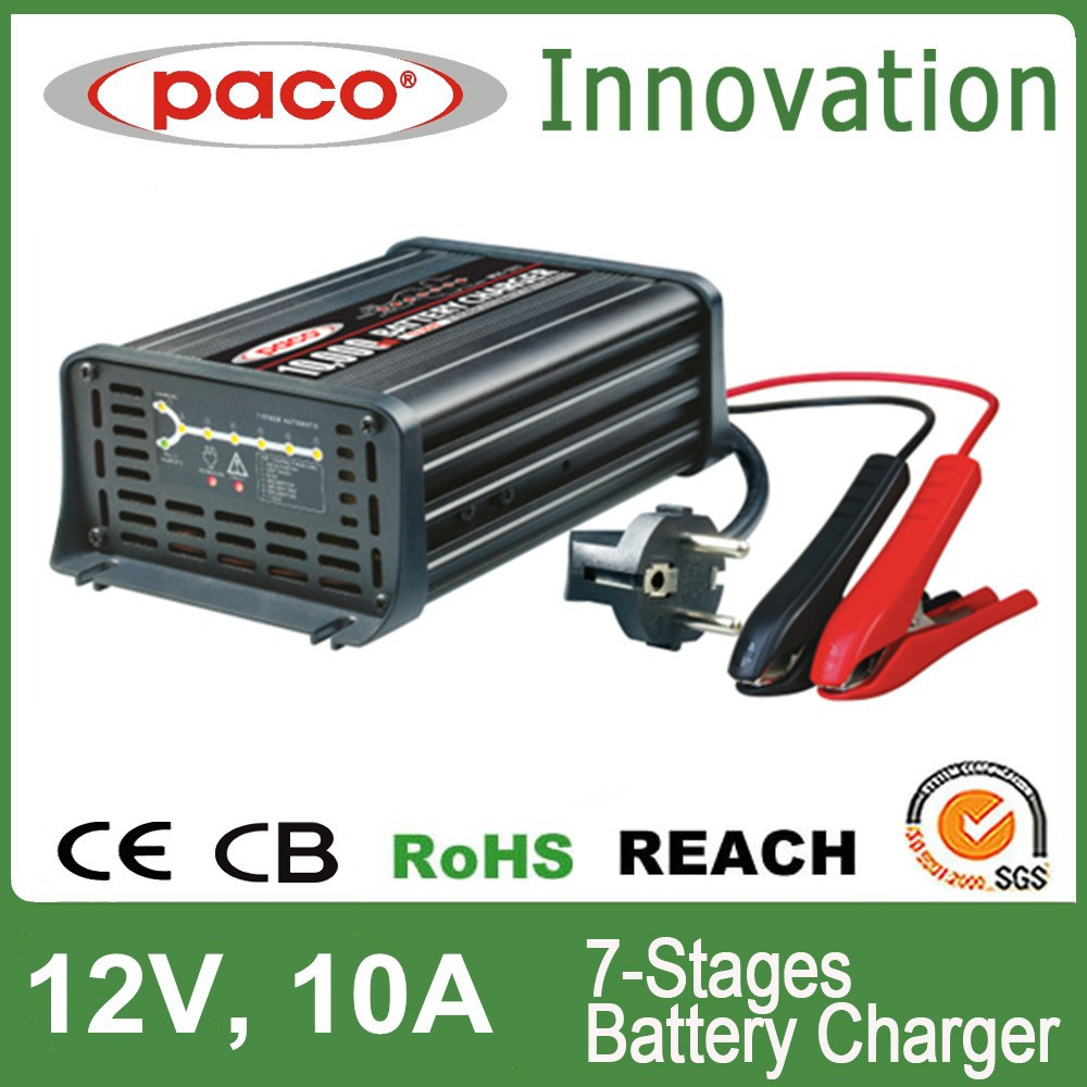 Motorbike battery charger 12V 10A,7 stage automatic charging with CE,CB,RoHS certificate