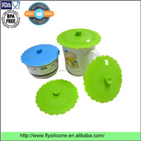 China High quality BPA free factory Round shape drinking Silicone tempered glass lid