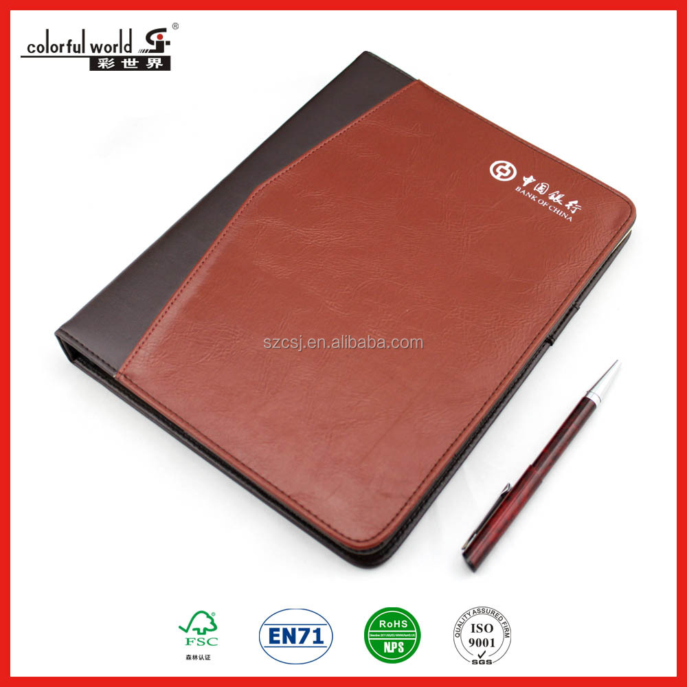 Customized loose-leaf plastic binder leather bound agenda for bank