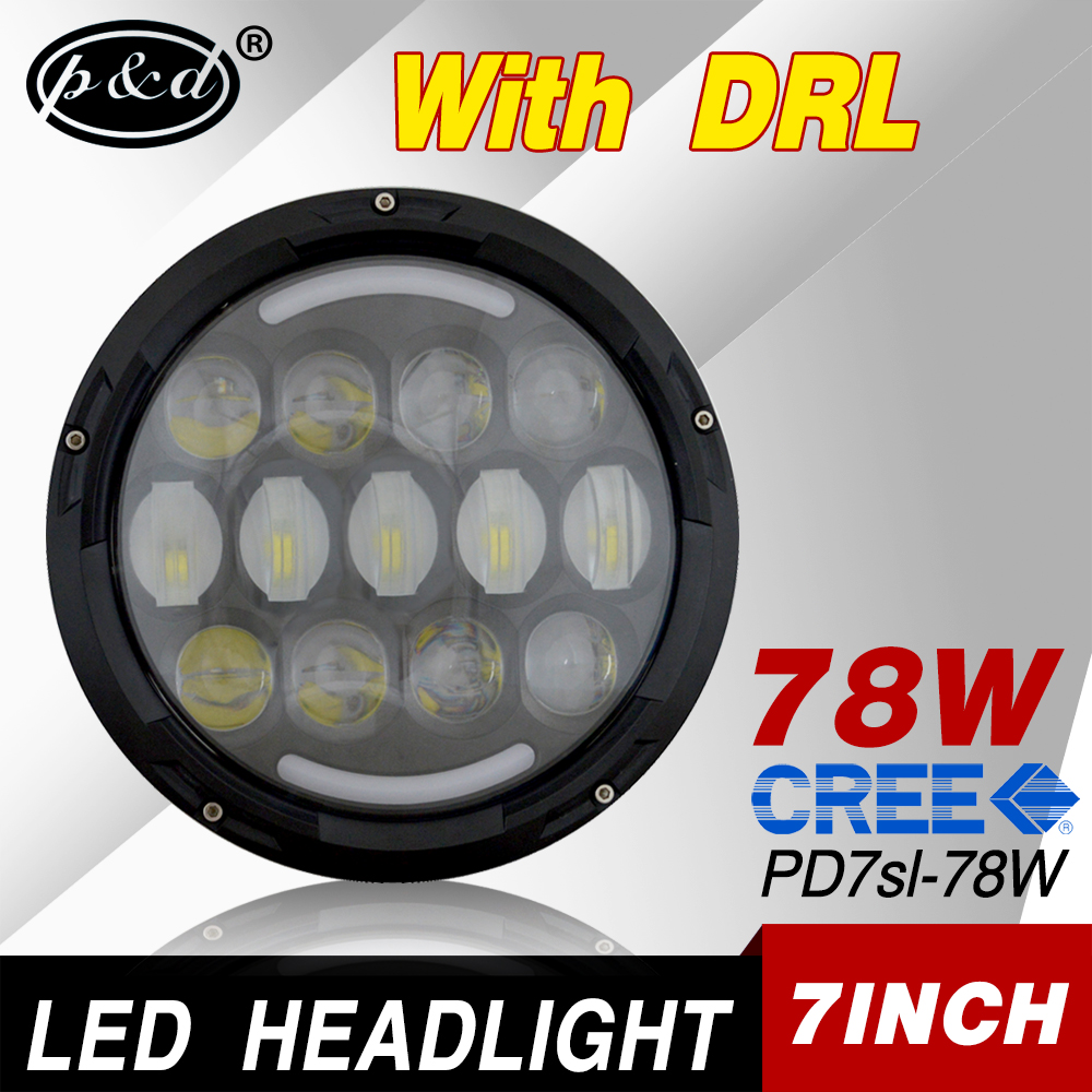 high power 7inch 78w cre e Canbus led car headlight for jeep trucks