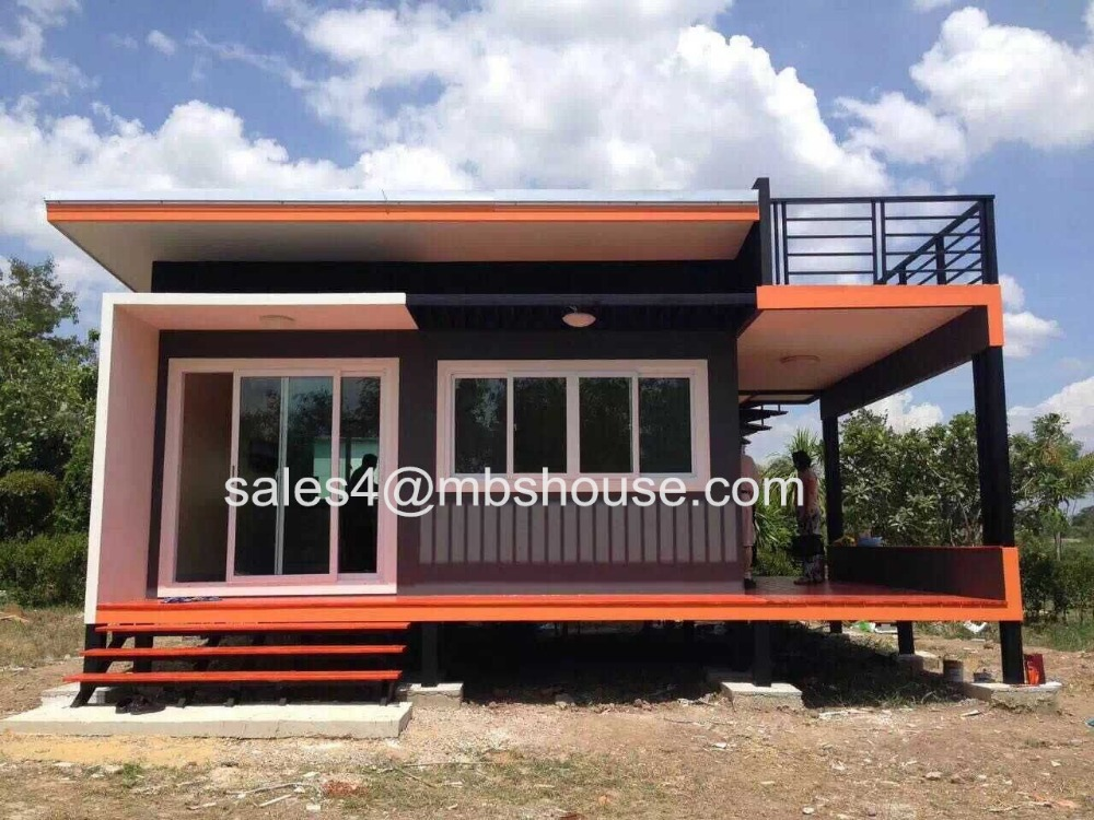 Super low cost prefabricated house fast build light steel for Maison low cost container