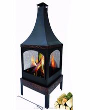MATT BLACK SQUARE OUTDOOR IRON FIRE PIT WITH CHIMNEY