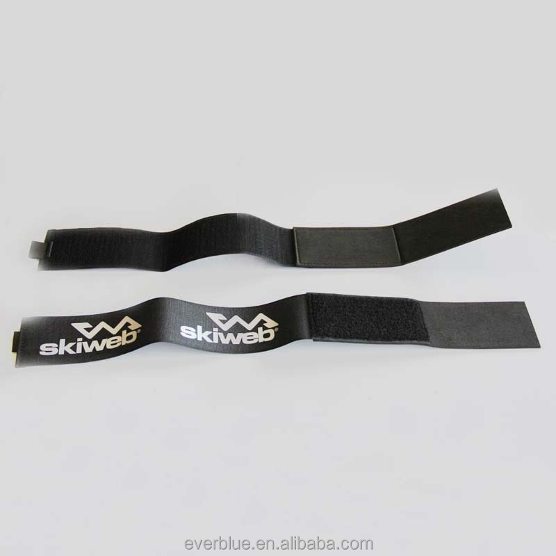 Top quality snow rubber band ski straps adjustable hook and loop carry strap