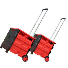 Wholesale Big Wheels Plastic Shopping Basket Large Collapsible Supermarket Grocery Luggage Folding Shopping Trolley Cart