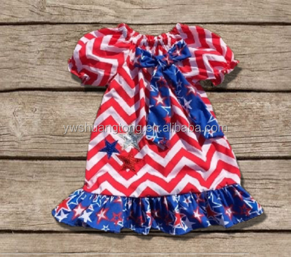 Spring /Summer Little Girls Boutique Remake Clothing Sets Red White Blue Stripes Kids 4th of July