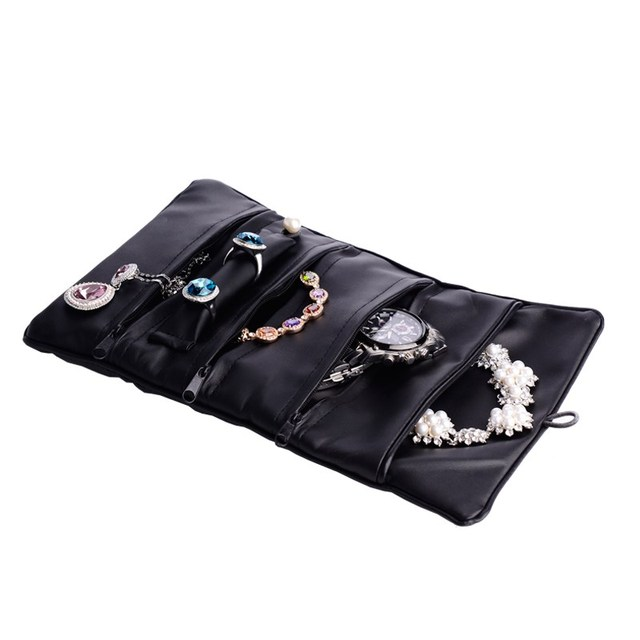 Oirlv fashion black PU leather ring earring watch bangle jewellery roll for package