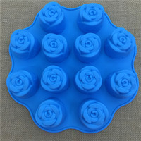 Even the 12 peony flowers rose month silicone cake mold