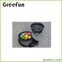 2pcs set custom ODM OEM high quality wholesale cheap hiking camping barbecue charcoal grill with Shoulder cooler bag China Made