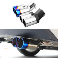 New Car Dual Twins Double Rear Exhaust Muffler Tail Pipe Tail Throat Muffler Tip For Kia Rio 2012 2013 2014 2015 Accessories