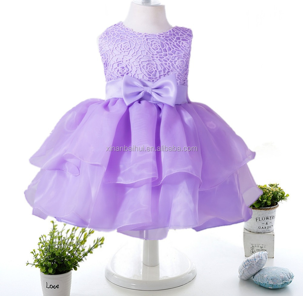 European and American style baby dress for 2 years old Chiffon flower girl dresses Full moon party dress