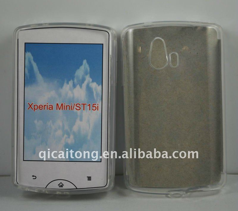 TPU case without texture for sony-ericsson ST15i mini,free sample phone case