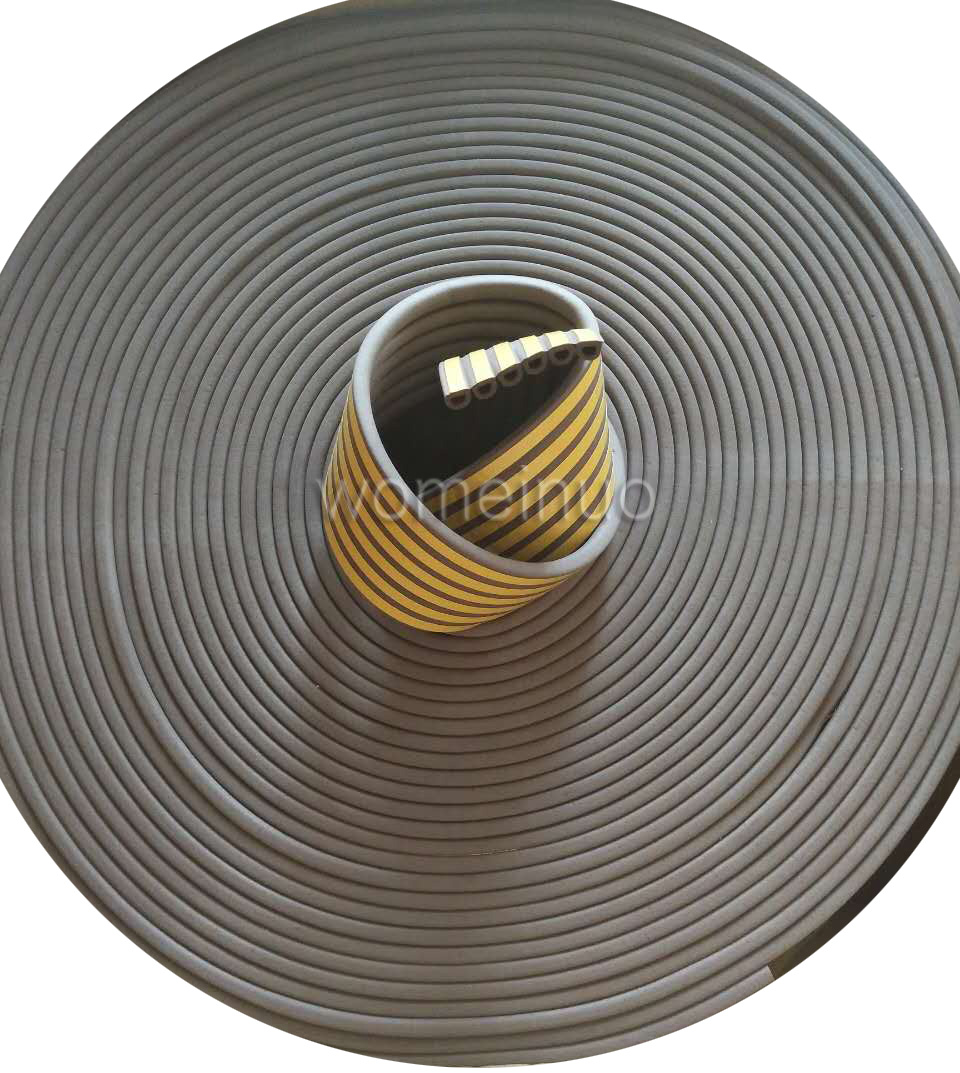 Waterproof gray D-type adhesive sealing rubber strip for door and window