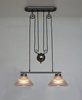 Vintage Industrial Pendant Lamp Plating Gun Black Iron Pulley Design Pendant Light