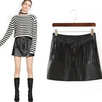 China Factory Beautiful Girl Fringed Short Leather Bag Hip Skirts As Pictures