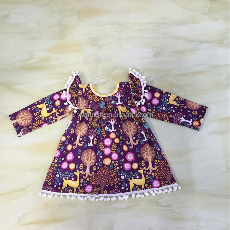 Western Girls Fall -Winter Outfit New Deer Fabric Long Sleeve Dress Match Pants Baby Suit