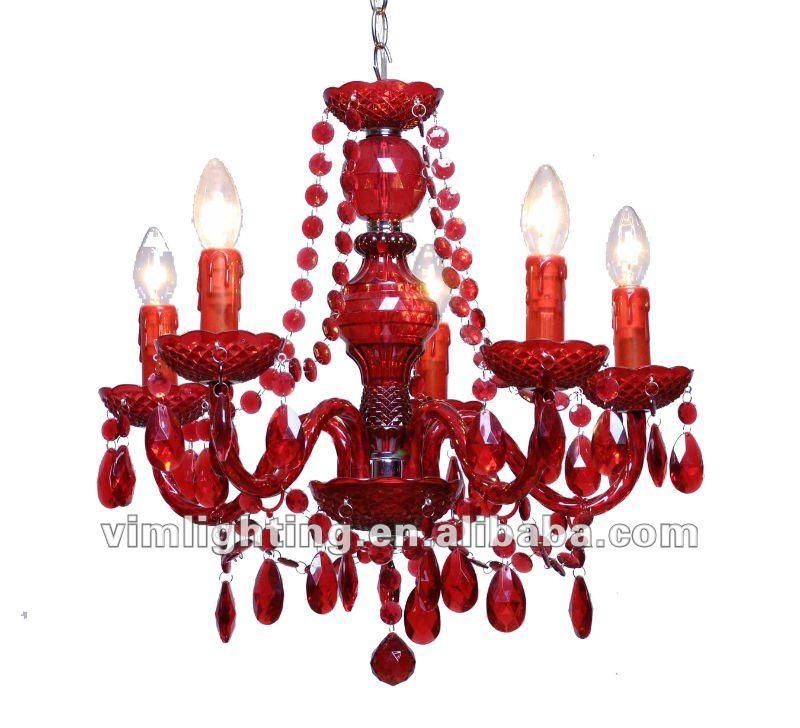 Prezzo basso hotsale 5 luci lampadario in acrilico a a708-5 rosso ...