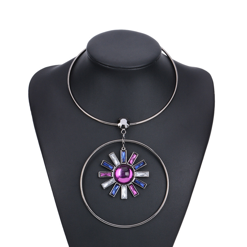 Fashion luxury big gems alloy choker necklace jewelry wholesale ,yiwu factory
