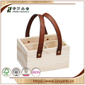 BSCI &FSC handmade unifnished pine wooden compartments box with handle