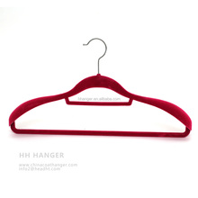 "17.80"" Red Flocked Velvet Adult Clothes Hanger with Silver Hook and Notches for Anti Slip Wholesale"