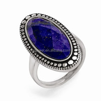 BLUE opal stone stainless steel unique rings jewelry