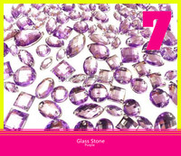 Purple 2 Holes Glass Material Strass Stone Flatback Sew on Sparkling Rhinestone