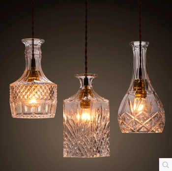 Carved Glass Pendant Lamp Bar Hanging Lights Creative Modern Chandelier