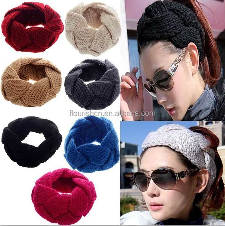 2018 Free shipping Women Knitted Bow Headbands Winter Warm Head Wrap Wide <strong>Hair</strong> <strong>Accessories</strong>