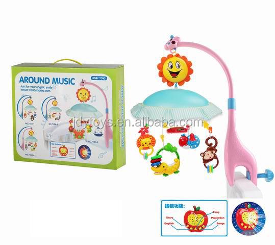Hot Music Rolling Baby B/O music bed bell baby musical hanging Bed Bell plastic china factory toys shantou