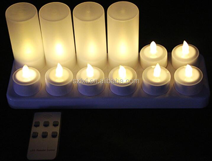 Set of 12 Warm white color Rechargeable <strong>LED</strong> Tea Light candle with Remote control