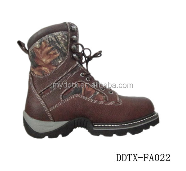 Composite toe men leather work boot with steel toe