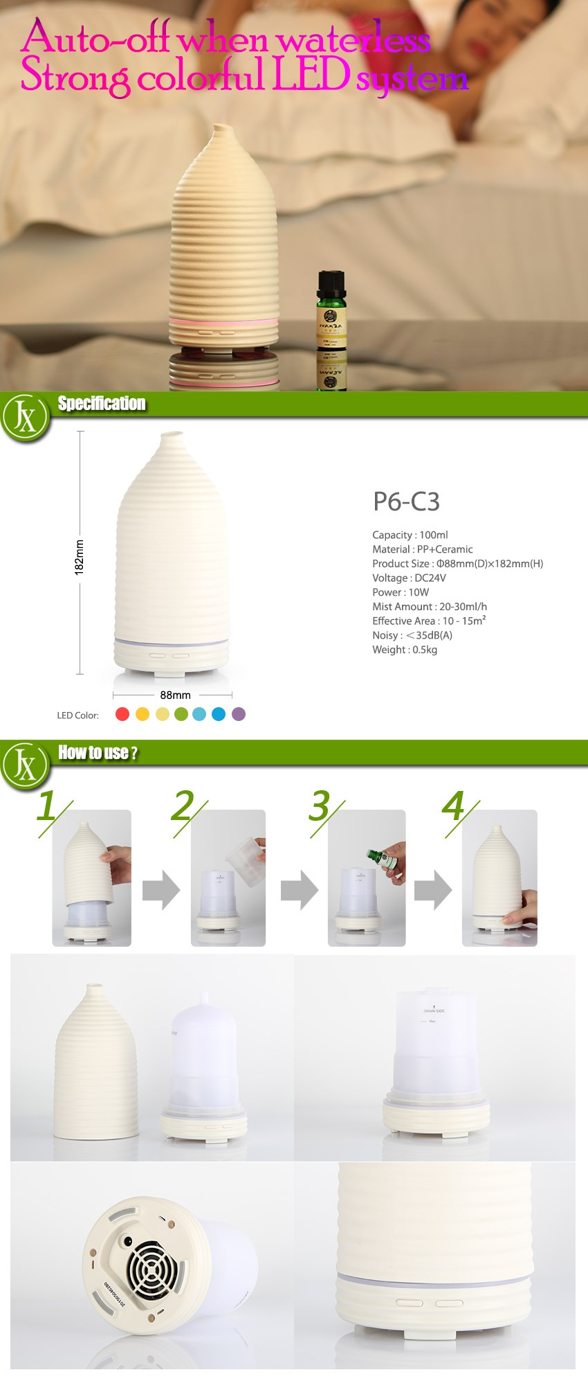 Humidifier Aroma Diffuser / Candle Light Aroma Diffuser / Ceramic Diffuser Aroma