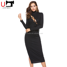 New Fashion Lace Up Long Sleeve Knitting Turtleneck Sexy Club Bodycon Bandage Casual Slit Midi Summer Dress