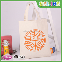 Seline wholesale OEM reusable natural canvas cheap chevron tote bags