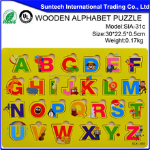 Educational wooden alphabet puzzle toys funny baby toys for sale