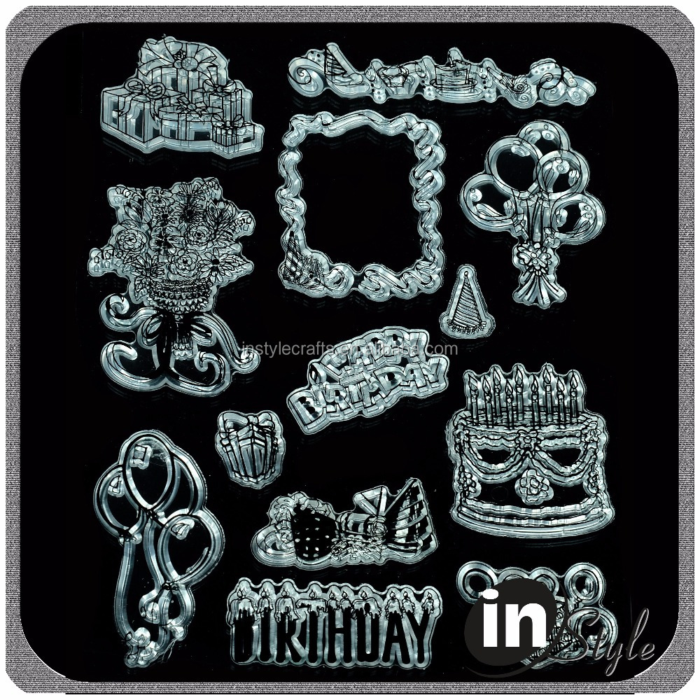 Birthday theme clear stamp set for birthday gifts and DIY crafting use with cheap price