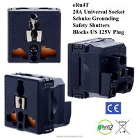 20 Amp Universal Wall Socket (Blocks US Plug) with Schuko Ground and Safety Shutters / universa socket /socket frame