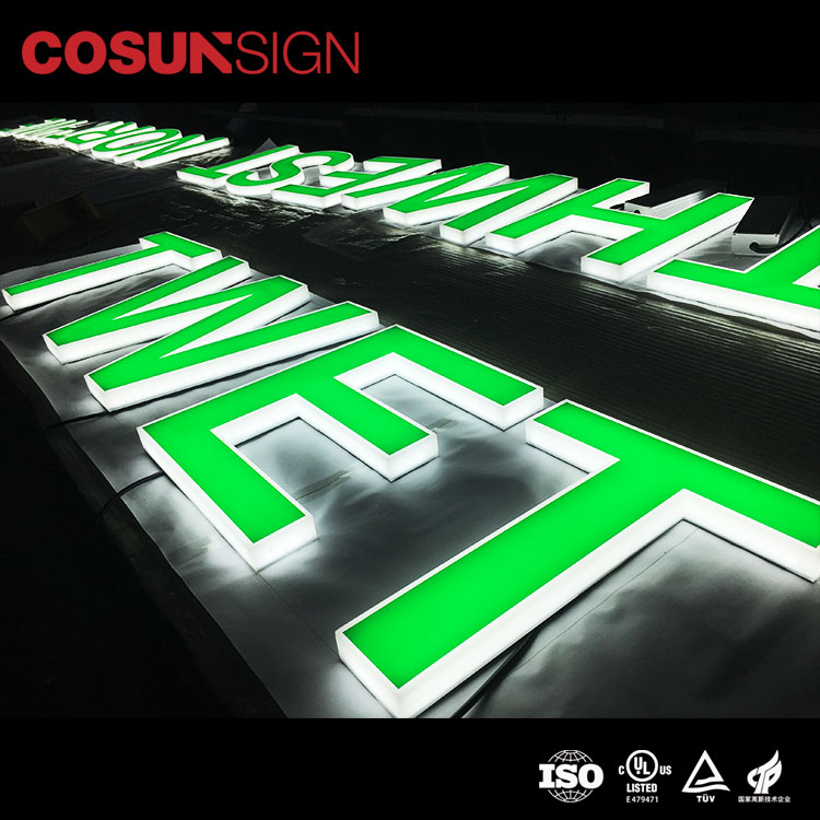 Hot sale 3D led channel letters sign made completely by acrylic