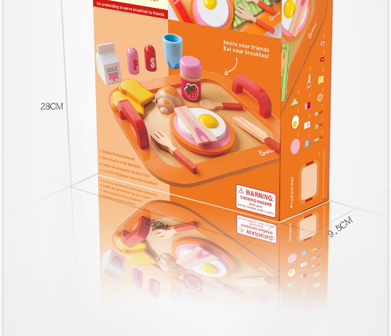 Onshine wooden simulation kitchen nutritious breakfast bread group children's educational toys