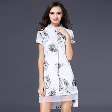2014 summer new stlye dress revenue stamp shirt collar classic fashion white pretty women clothing