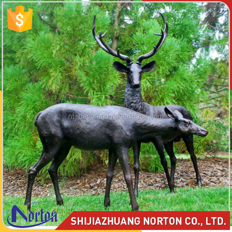 Wholesale a couple bronze deer sculpture NTBH-074LI