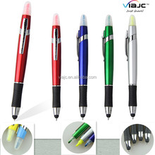 muti function screen touch stylus plastic ball pens with highlighter
