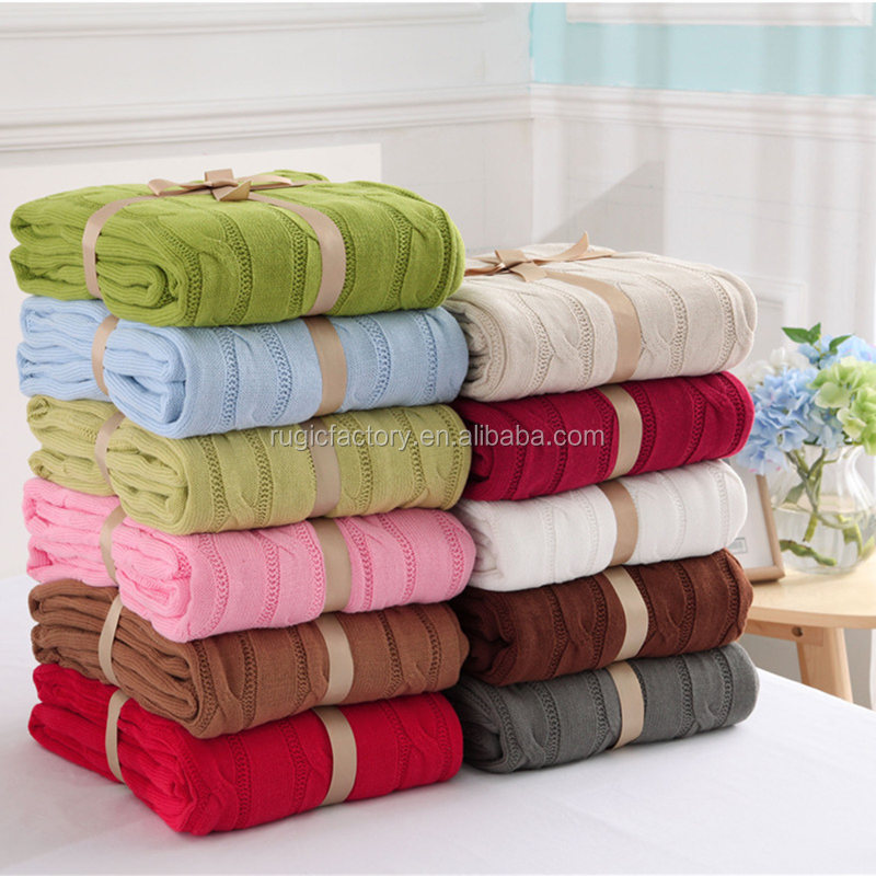 High Quality 100% Cotton Knitted Throw Blanket For Sofa/bed/home