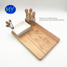 Perfect Serving Plate For Charcuterie or Wine and Party Rubber Wood Cheese Board Set with Forks Knives Porcelain Dish