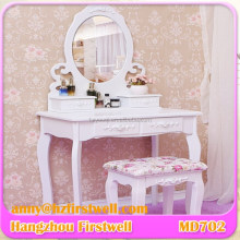 Modern Wooden White Vanity Makeup Dressing Table Vanity European Style Wrought Iron Dressing Table