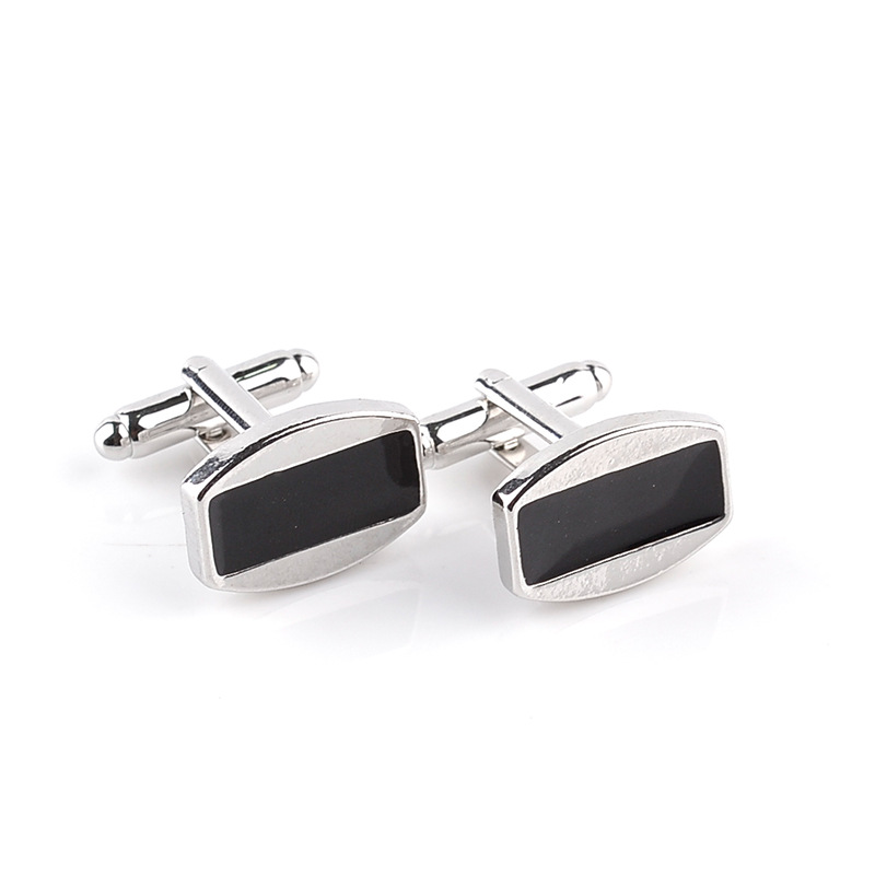 Mans Jewelry Stainless Steel Plain Rectangular Shiny Blank Cufflink High Quality