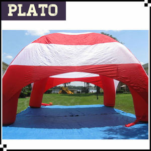 Red and white inflatable dome tent,tent with inflatable mattress