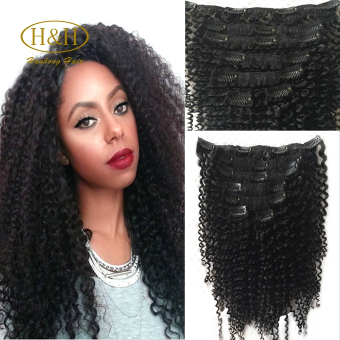 Cheap kinky curly clip in remy human hair extensions for black women 120G/pack