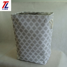eco-friendly handmade canvas laundry basket decorate foldable fabric basket with cover cotton handle