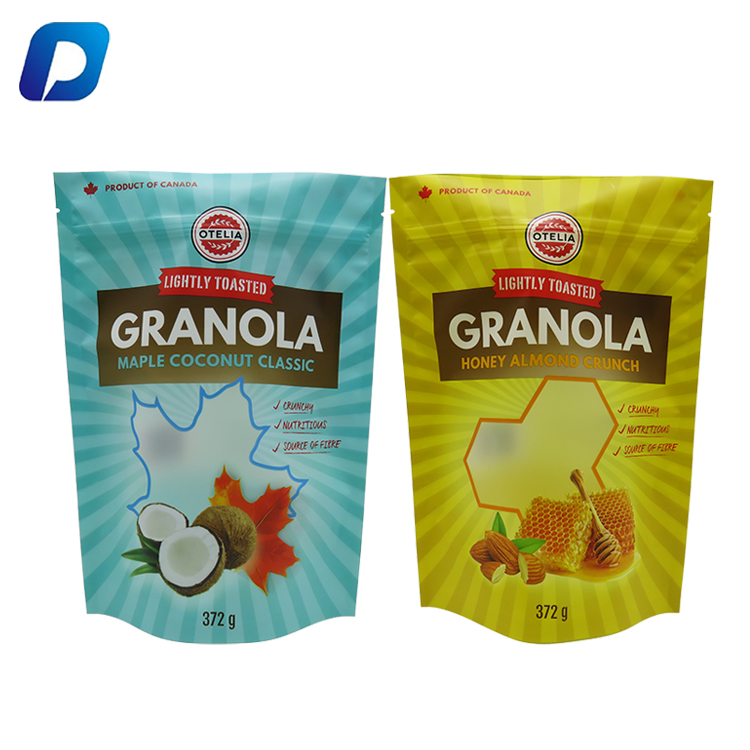 Custom Printed Plastic Biodegradable Stand Up Pouch Snack Food Packaging Bag With Zipper